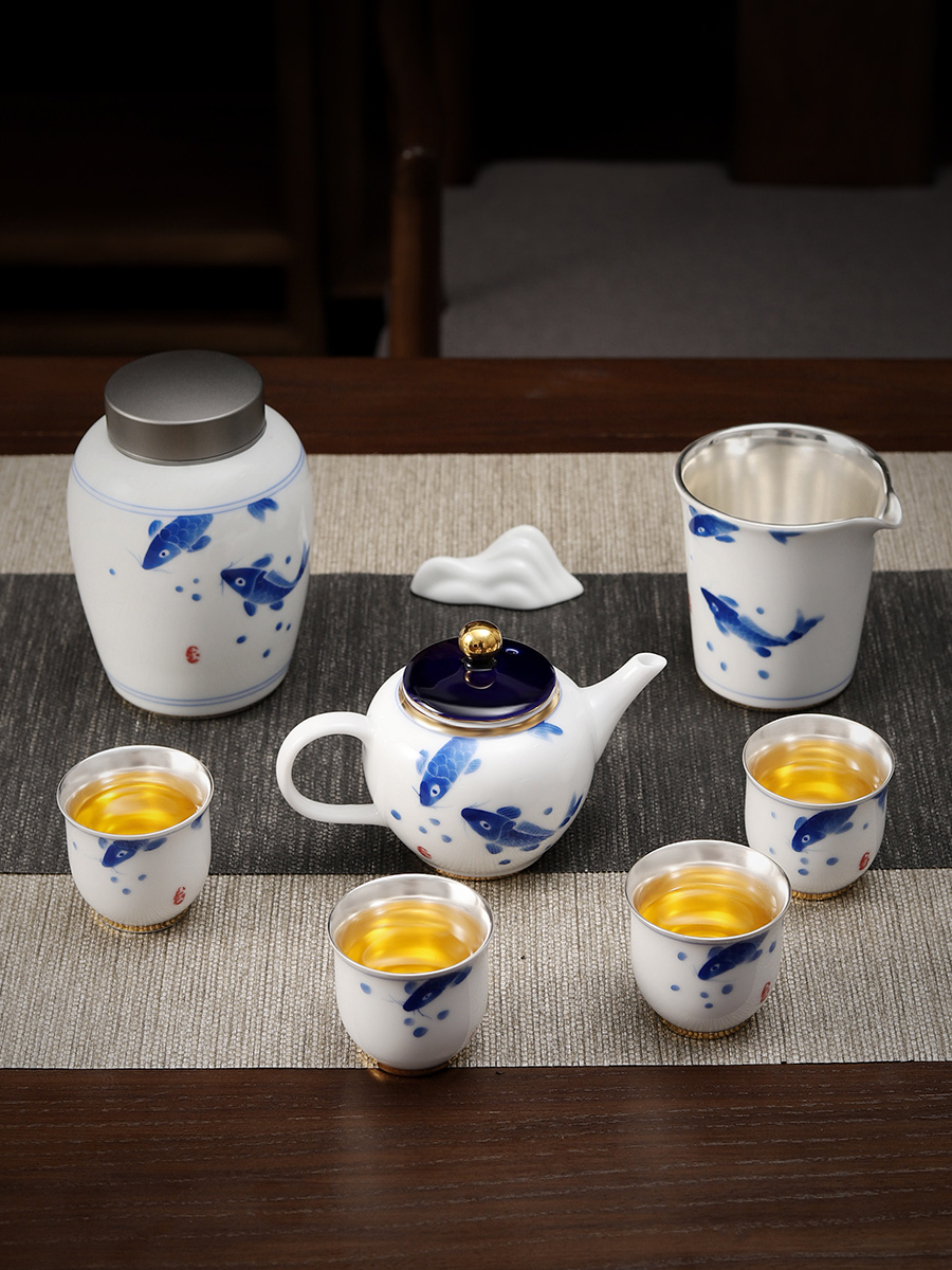Hand-painted blue and white porcelain kung fu tea set 999 sterling silver household ceramic teapot tea cup set of office gifts image