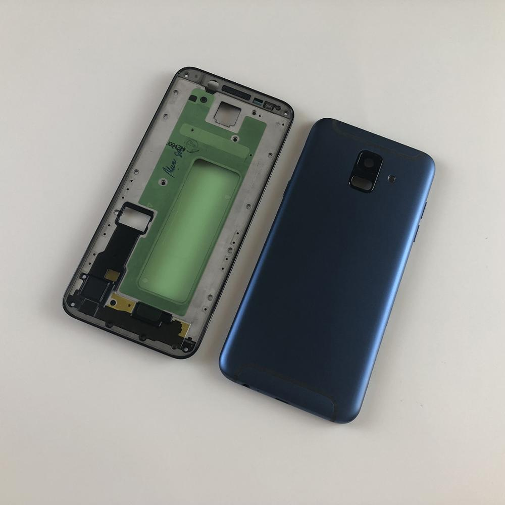 For Samsung Galaxy A6 2018 A600 A600F LCD Housing Front Frame+Metal Middle Frame Battery Back Cover+Side Buttons(Dual Card)