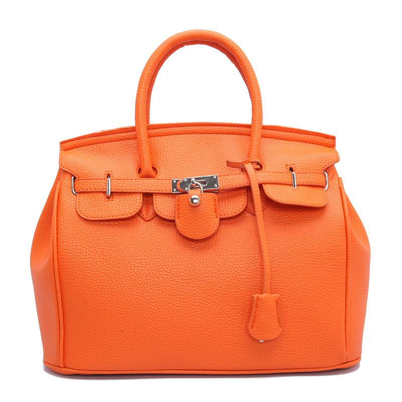 2019 Autumn And Winter Foreign Trade Europe And America Fashion Bags Handbag Embossed Leather Birkin Bag Lock Large-Volume