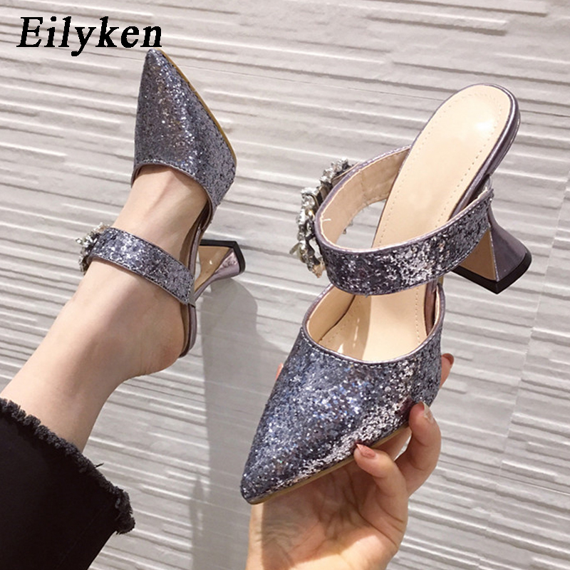 Eilyken Fashion Glitter Bling Sequined Cloth Pointed Toe Women Shoe Summer Crystal Diamonds Buckle Strange High Heel Sandals