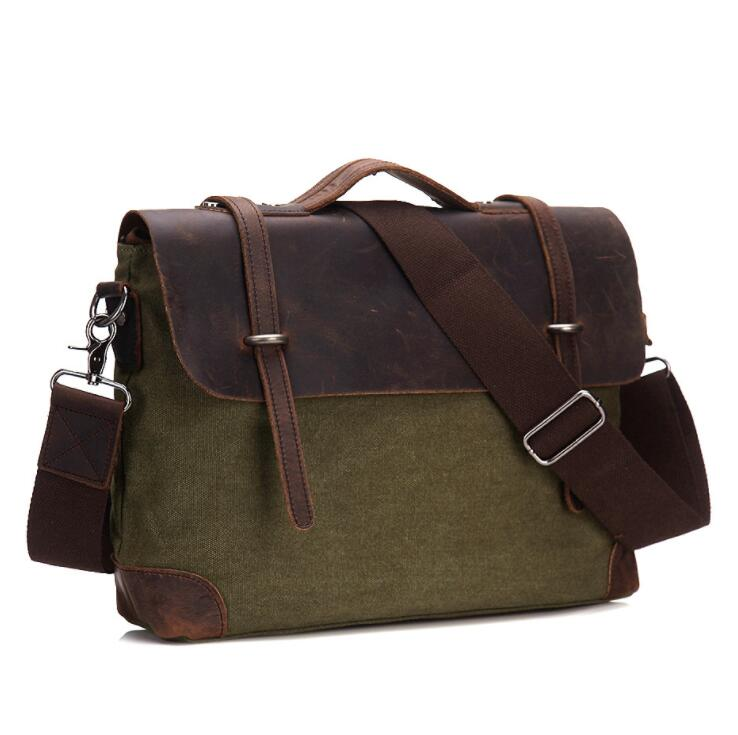 MAHEU Canvas Laptop Business Bag With Leather Cover Ipad Notebook Briefcase Bag Canvas Leather Computer Bag For Men Male
