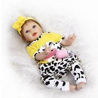 Vinyl&Silicone Reborn Baby Doll 22'' Toy Soft Gentle Touch Cloth Body / Cow Bebe Baby Doll Toy Toddler Boy Toys