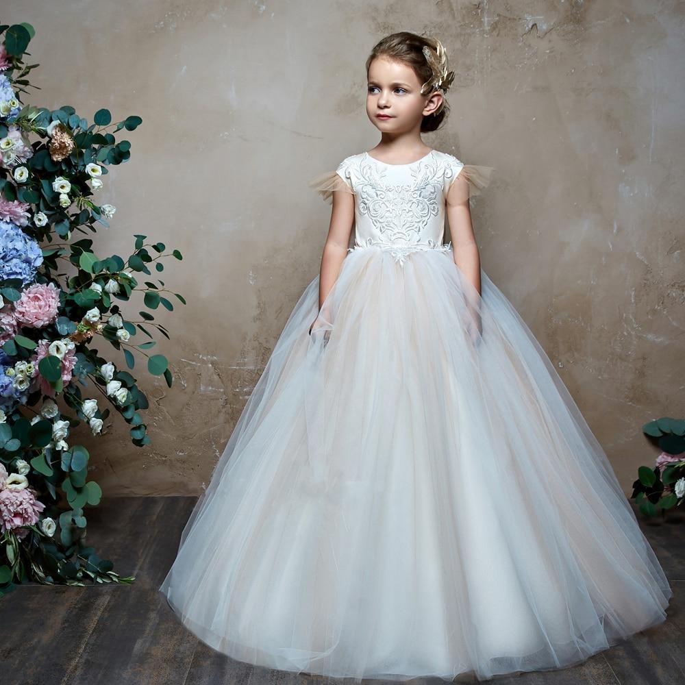 Cap Sleeves 2019   Flower     Girl     Dresses   For Weddings Ball Gown Tulle Appliques Bow Long First Communion   Dresses   Little   Girl