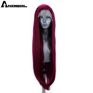 Image 4 - Anogol Blue Red Pink Grey Black White Blonde Synthetic Lace Front Wigs Long Natural Straight for Women High Temperature Fiber