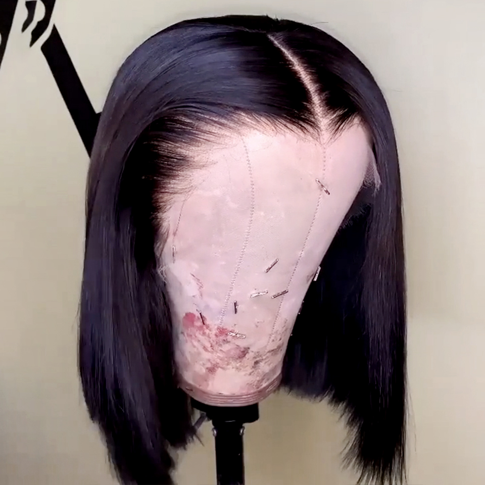 150-Lace-Front-Human-Hair-Wigs-Straight-Short-Bob-Wig-For-Women-Natural-Black-Remy-Brazilian (2)