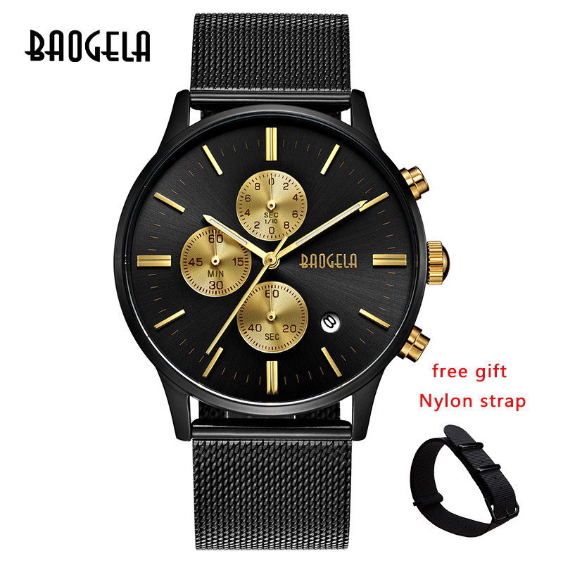 Image 3 - BAOGELA Chronograph New Men Quartz Watch Stainless Steel Mesh Band Gold Watches Slim Men Watches Male Relogio Sports Wristwatch-in Quartz Watches from Watches