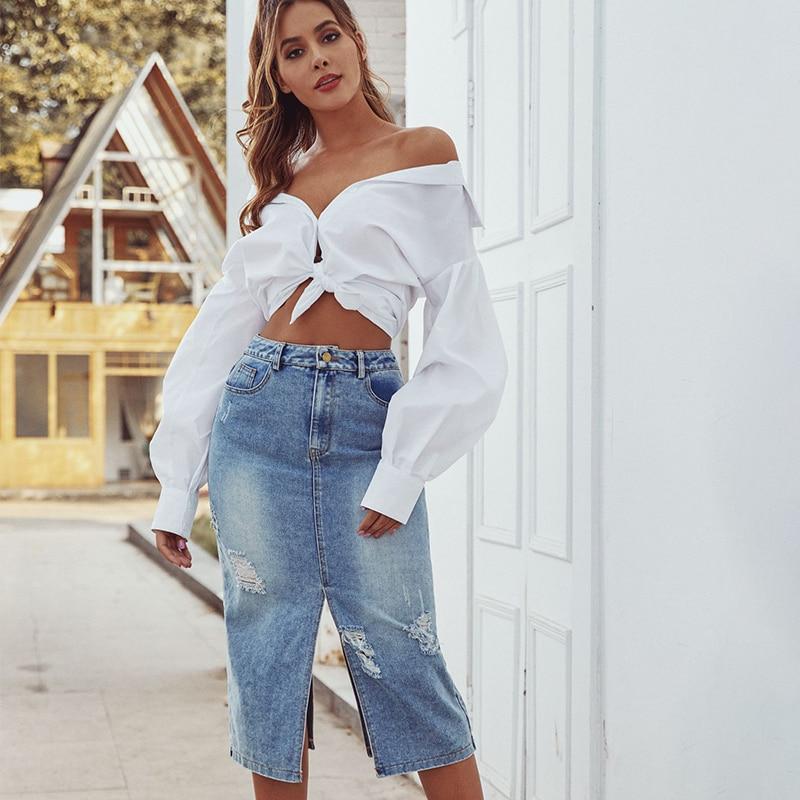 JYSS New Woman Skirts Femme Jupes Calf Length Split Skirt Female Lady Natural Waist Denim Skirt 30088