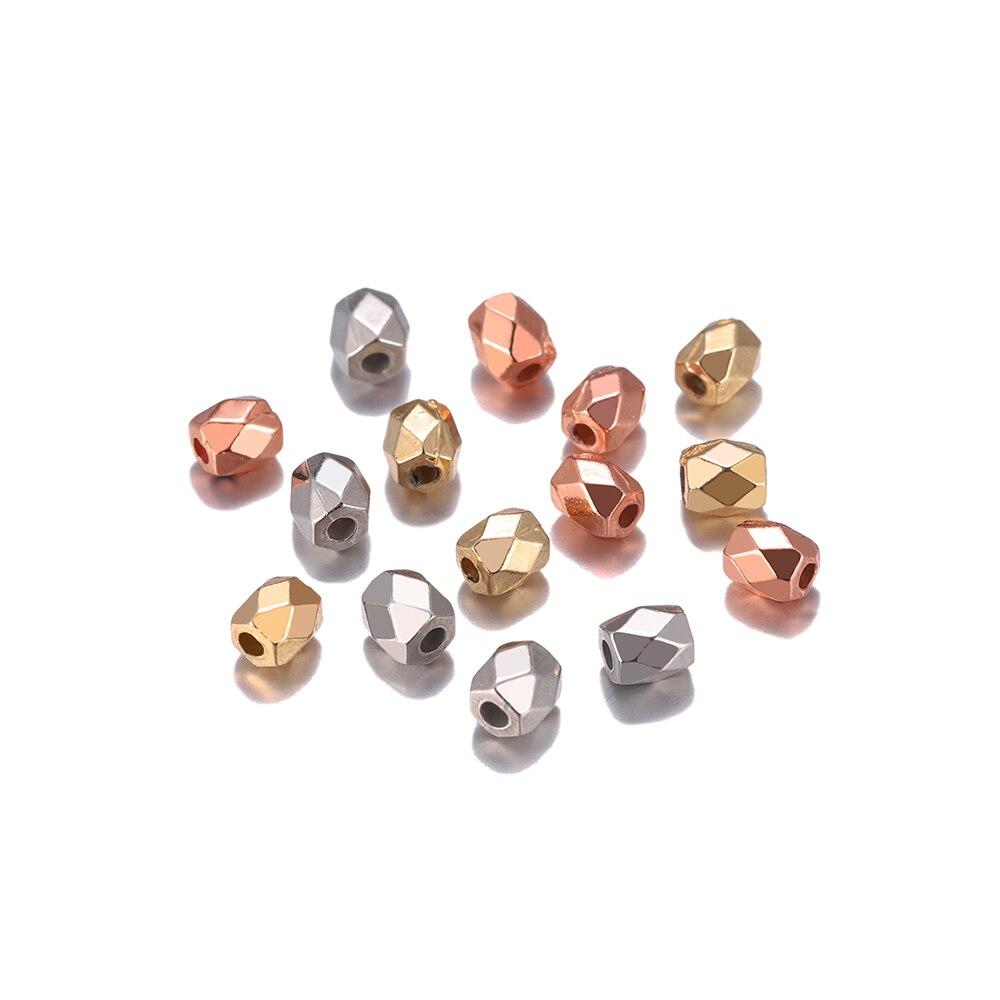300-500 шт 3 мм/4 мм золото с родиевым покрытием разделительные бусины CCB пластиковые квадратные кубоидные бусины для поделки из бисера Ювелирны...