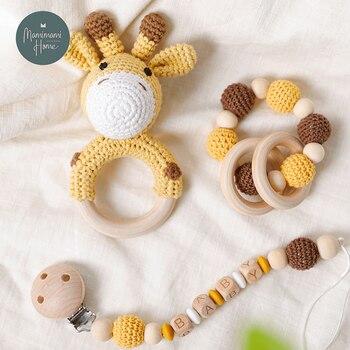 цена 1set Baby Toys Crochet Amigurumi Elephant Owl Rattle Bell Custom Newborn Pacifier Clip Montessori Toy Educational Children Goods онлайн в 2017 году