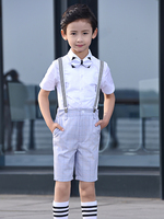 YuanLu Boy Suits Short Sleeve Bib Suit for Weddings Party Piano Baby Clothes Slim Fit Summer Two Color Choose