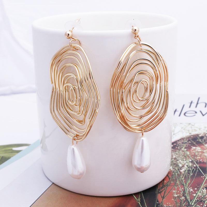 Big Fashion Gold Color Earrings For Women 2019 Statement Geometric Vintage Pearl Earrings 2019 Metal Pendant Earrings Jewelry
