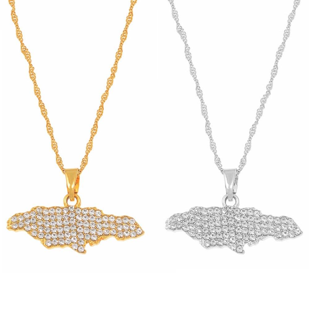 Ожерелья Anniyo с подвеской в виде карты Ямаки для женщин и девушек ювелирные изделия Стразы Золотой цвет ювелирные изделия в подарок #159606