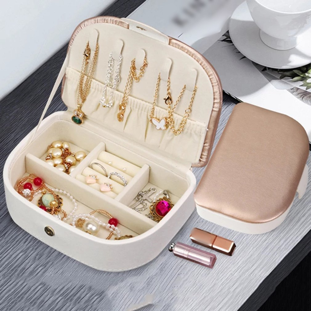 Jewelry Storage Box Earrings Ring Necklace Case