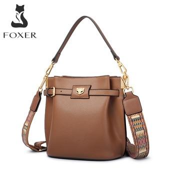 FOXER Women Shoulder Bags Female Split Leather Crossbody Bag Lady Retro Fashion Flap Tote Purse for Girl 2020 New Design 958333F