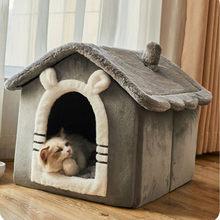 Pequeno cão gato cama casa inverno quente semi-fechado casa villa quatro estações canil universal removível e lavável suprimentos de gato