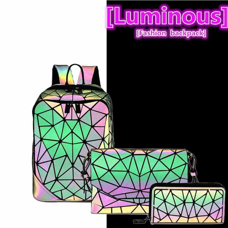 ファッションセット女性バックパックpvcホログラフィック発光バックパック女性バックパックガールリュックバッグエンベロープショルダーバッグ
