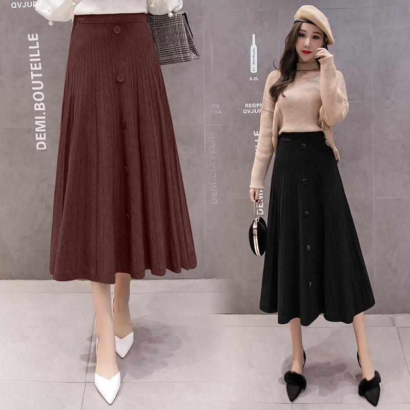 2019 Autumn And Winter Single Breasted Skirt Women Knitted Skirt Waist Slim Winter Skirt Large Swing Skirt Knit Midi Skirt