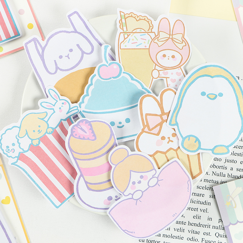 Mohamm 30PCS Girl's Mind Series Creative Message Sticky Note Memo Pad Kawaii Cartoon Students School Supplies Stationery