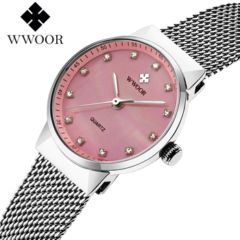 WWOOR Famous Brand Ladies Pink Watches Women Luxury Rhinestone Dress Wrist Watch Women Fashion Simple Quartz Watch montre femme