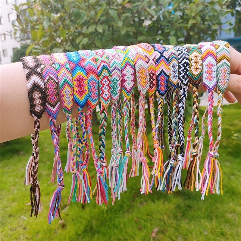 Bohemian Woven Bracelet Handmade Rainbow Lucky Friendship Bracelets Bangles for Women Men Boho Fringe Rope Braided Jewelry Gift