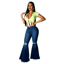 Fashion high waist Denim Flare Pants Women vintage Hole Ripped skinny Jeans Wide Leg Trousers ladies Casual Bell-Bottoms jeans