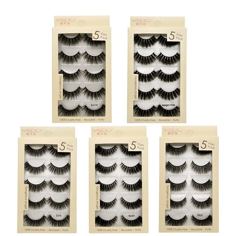SHIDISHANGPIN 5 Pairs Faux Mink Reusable False Eyelashes 100% Cruelty Free Soft Wispy Fluffy 3d Lashes Volume Cilios Makeup