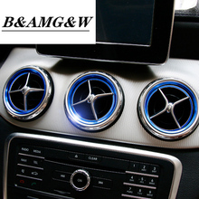 цены Car styling Car AC Outlet Ring Decoration Air Conditioning Vents Trim Sticker Cover For Mercedes Benz GLA CLA A Class C117 X156