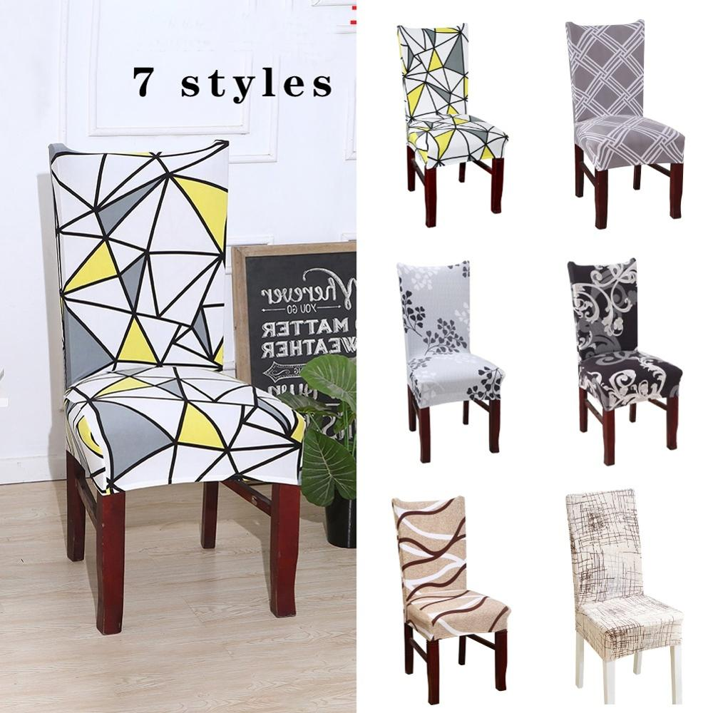 Printed Detachable Restaurant Seat Cover Multicolor Optional Chair Back House De Chaise Furniture Covers Gray Chair Cover