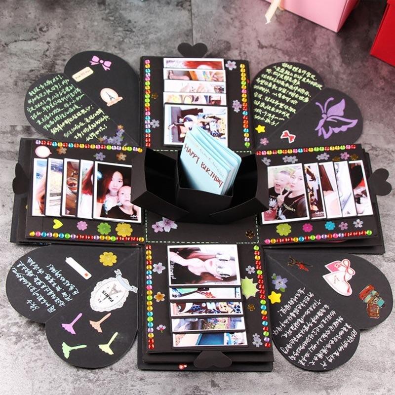 DIY Surprise Explosion Box Memory Scrapbooking álbum de fotos Kits fiesta de cumpleaños boda decoración aniversario regalo álbum BDF99 60 páginas álbumes de fotos álbum de recortes de papel DIY álbum de manualidades álbum de fotos para regalos de aniversario de boda libros de memoria decr