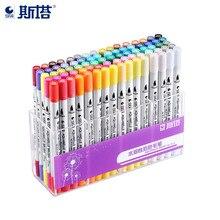 Pincel para colorir aquarelle, caneta com ponta solúvel para agulha de 48/80mm e delineador micron, 12/24/36/0.4 cores caneta marcadora de tinta da aquarela