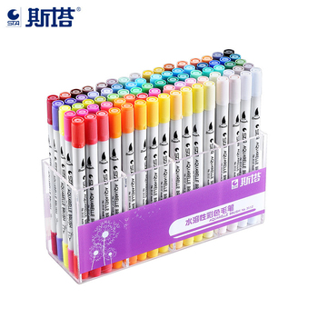 цена на STA 12/24/36/48/80 Colors Aquarelle Coloring Brush Pen 0.4mm Fineliner Micron Needle Tip Soluble Watercolor Ink Art Marker Pen