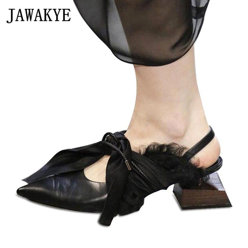 JAWAKYE w kształcie drewna kwadratowy obcas szpilki kobieta prawdziwej skóry jedwabny łuk wiązane punkt toe buty Runway panie specjalne pantofle w Buty damskie na słupku od Buty na  Grupa 1