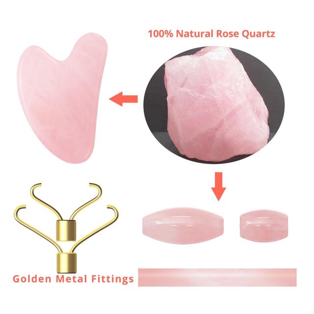Dropshipping Rose Quartz Massage Roller Gouache Scraper for Facical Massage 100% Natural Jade Guasha Scraper Face Massage Roller 3