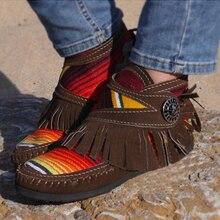 Women Tassel Stripe Ankle Boots 2020 Women's