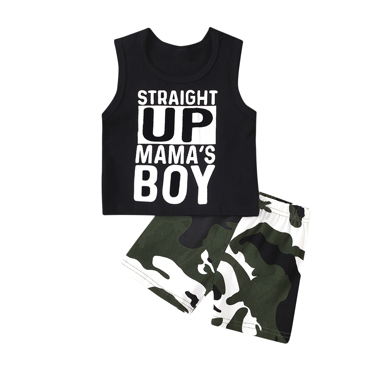 0-24M Infant Baby Kids Boys Clothes Sets Letter Print Sleeveless Vest Tops + Camouflage Shorts Outfits