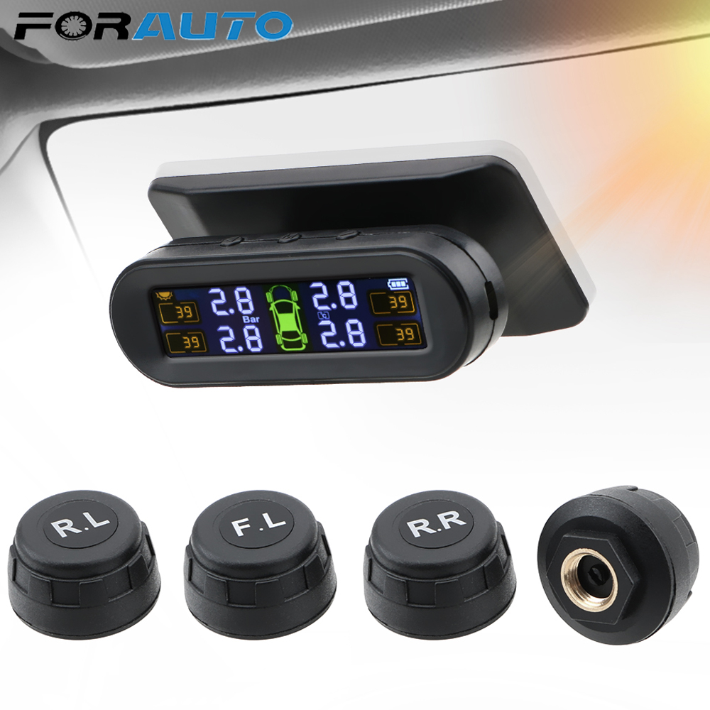 FORAUTO Tyre Pressure Sensor With 4 External Sensors Temperature Warning Fuel Save Car Tire Pressure Monitor System Solar TPMS