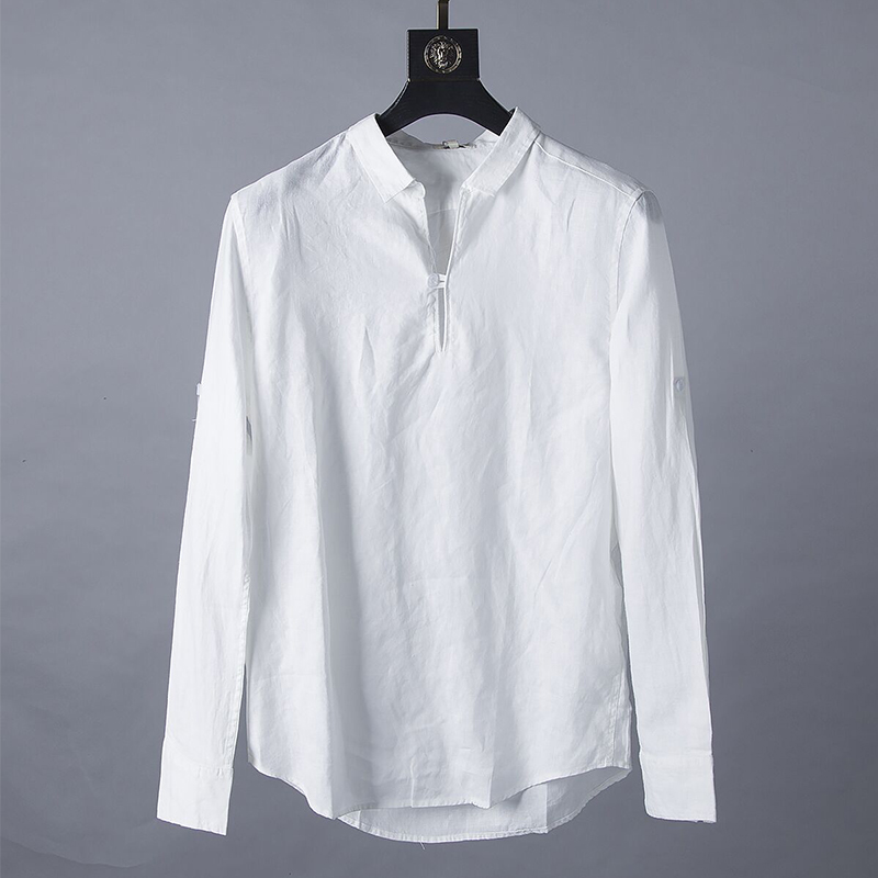 100%Linen Long Sleeve Shirts Men Solid White Color Turn-down Collar Pullover Casual Shirts 2020 Summer Man Shirt