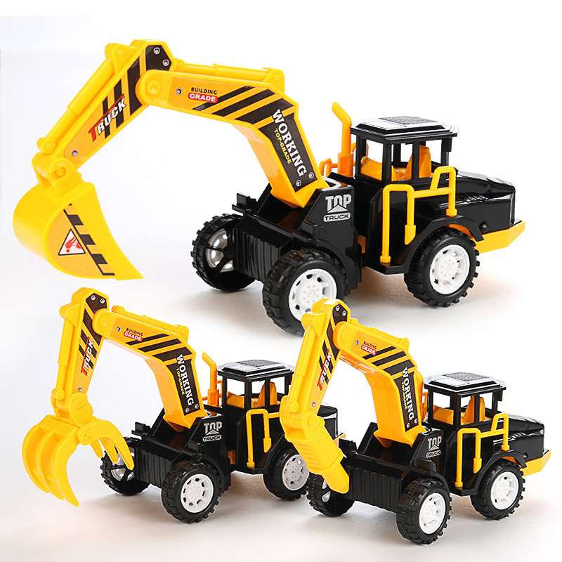 Scale 1:22 Inertia Toy Car ABS Plastic Excavator Drilling Grab Engineering Vehicle Oyuncak Araba Model Car Educationl Kids Toys