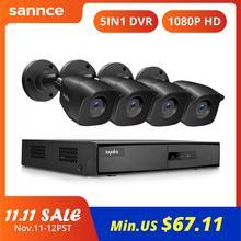SANNCE 4CH 1080P 라이트 비디오 보안 시스템 1080N 5IN1 HDMI DVR 2x4x 야외 방수 카메라 홈 감시 CCTV 키트