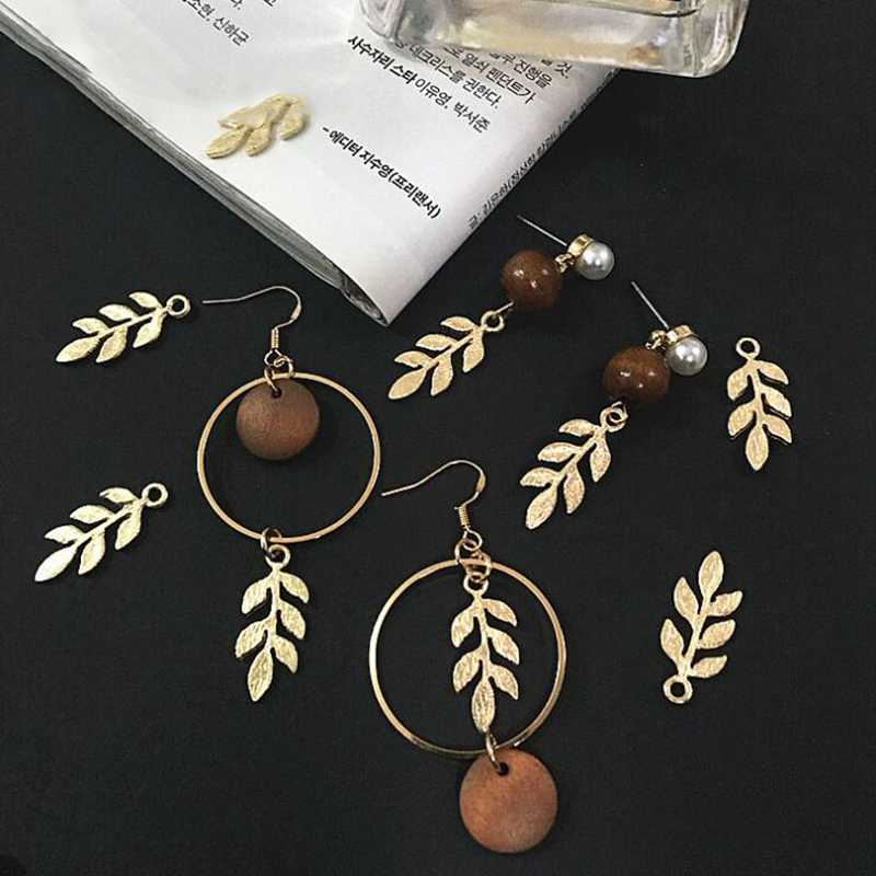 20pcs Zinc Alloy Golden Mini Leaves Charms Floating For DIY Fashion Drop Earrings Jewelry Making Accessories Tree Leaf Pendants 3
