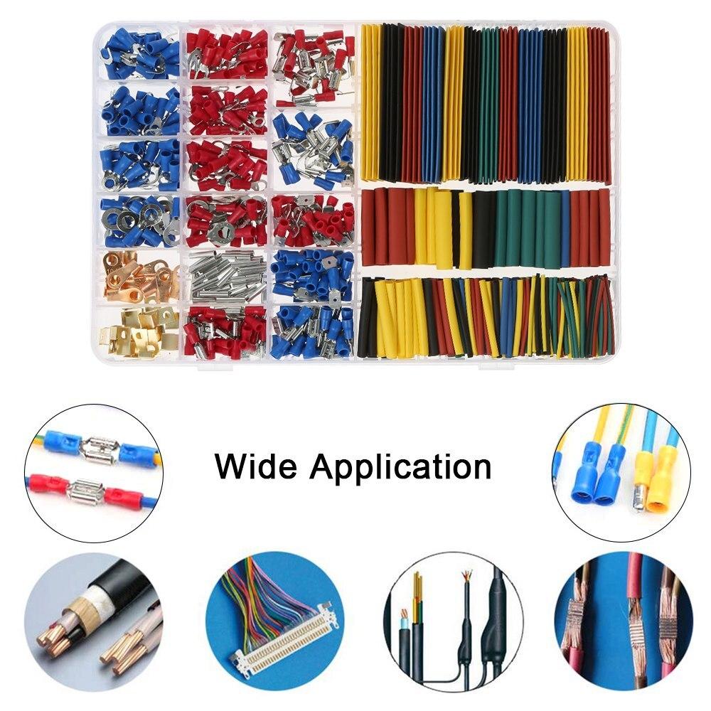 250PCS Heat Shrink Wire Connectors Assortment Crimp Terminals Marine Case Kit MA