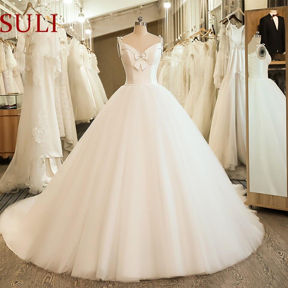 SL-5058 Cheap Sample Bow Wedding Bridal Dress Corset Ball Gown Satin Wedding Dress(China)