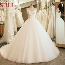 SL 5058 Goedkope Monster Bow Wedding Bridal Dress Corset Baljurk Satijnen Trouwjurk