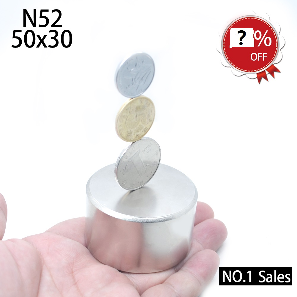 1pc N52 magnet <font><b>50x30</b></font> mm Powerful permanet round Neodymium Magnet Super Strong magnetic Rare Earth NdFeB 50*30mm gallium metal image
