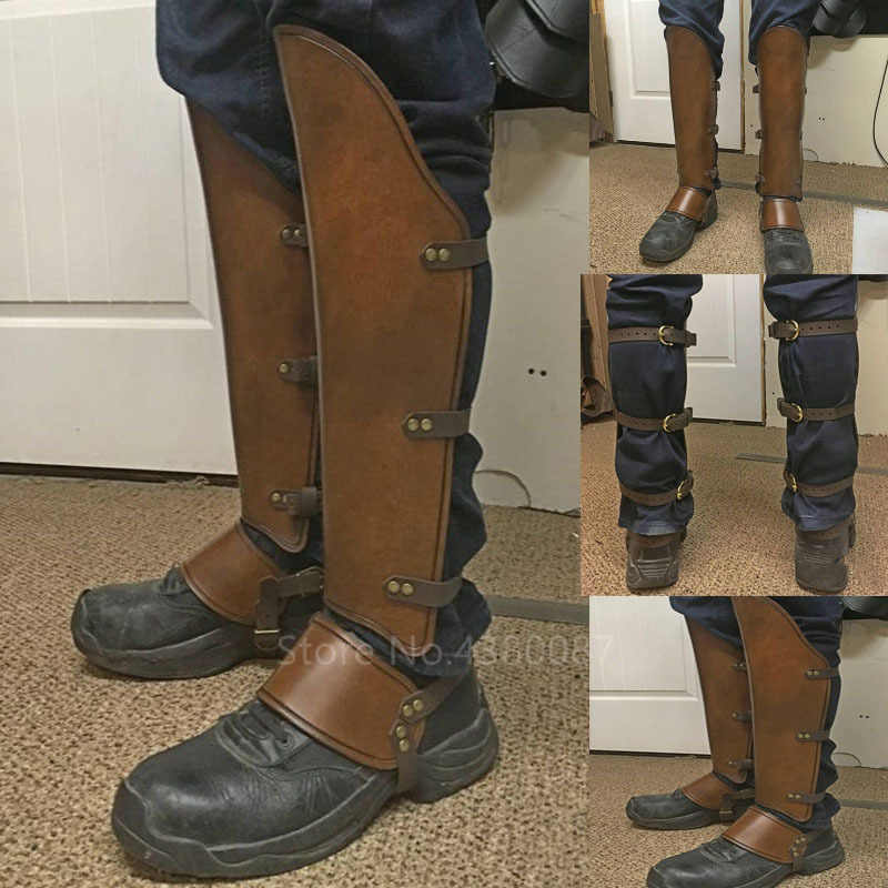 2020 Middeleeuwse Viking Mannen Greaves Been Protector Lederen Band Wrap Armor Deel Warrior Ridder Kostuum Boot Versieren Set Shin Guard