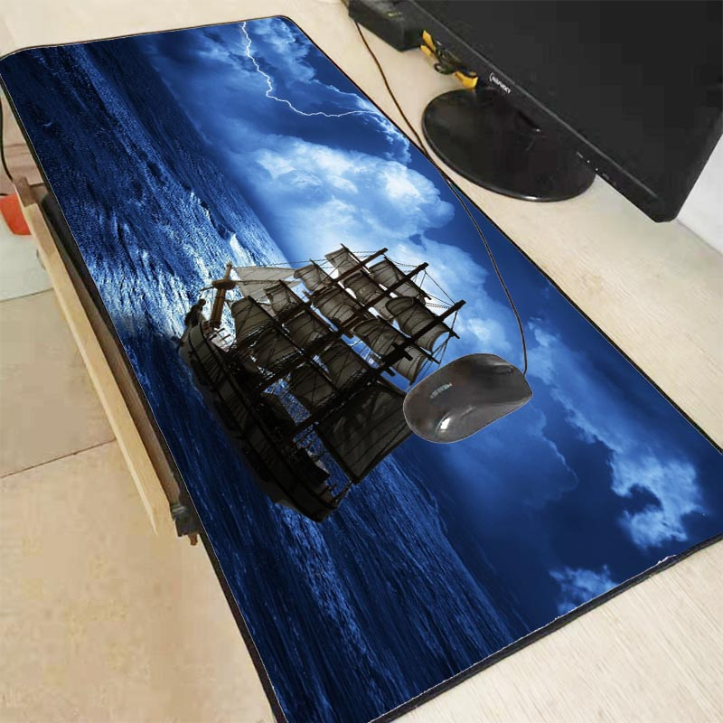 Mairuige Ship On The Sea Speed Version Large Locking Edge Gaming Mouse Pad Mat For Laptop Computer Desk Pad Keyboard 900*400*3mm