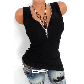 Fashion T-shirt summer new V-neck sleeveless T-shirt women's shirt casual bottoming shirt black fashion v neck cut out t shirt