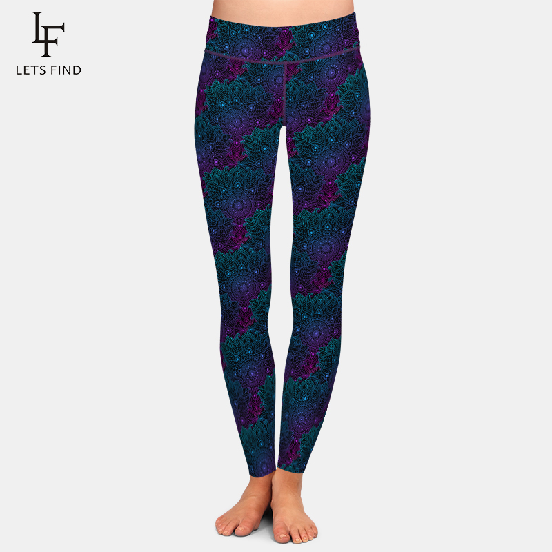 LETSFIND Sexy Mandala Style Printing Women Leggings Fashion High Waist Plus Size Soft Polyester Stretch Pants