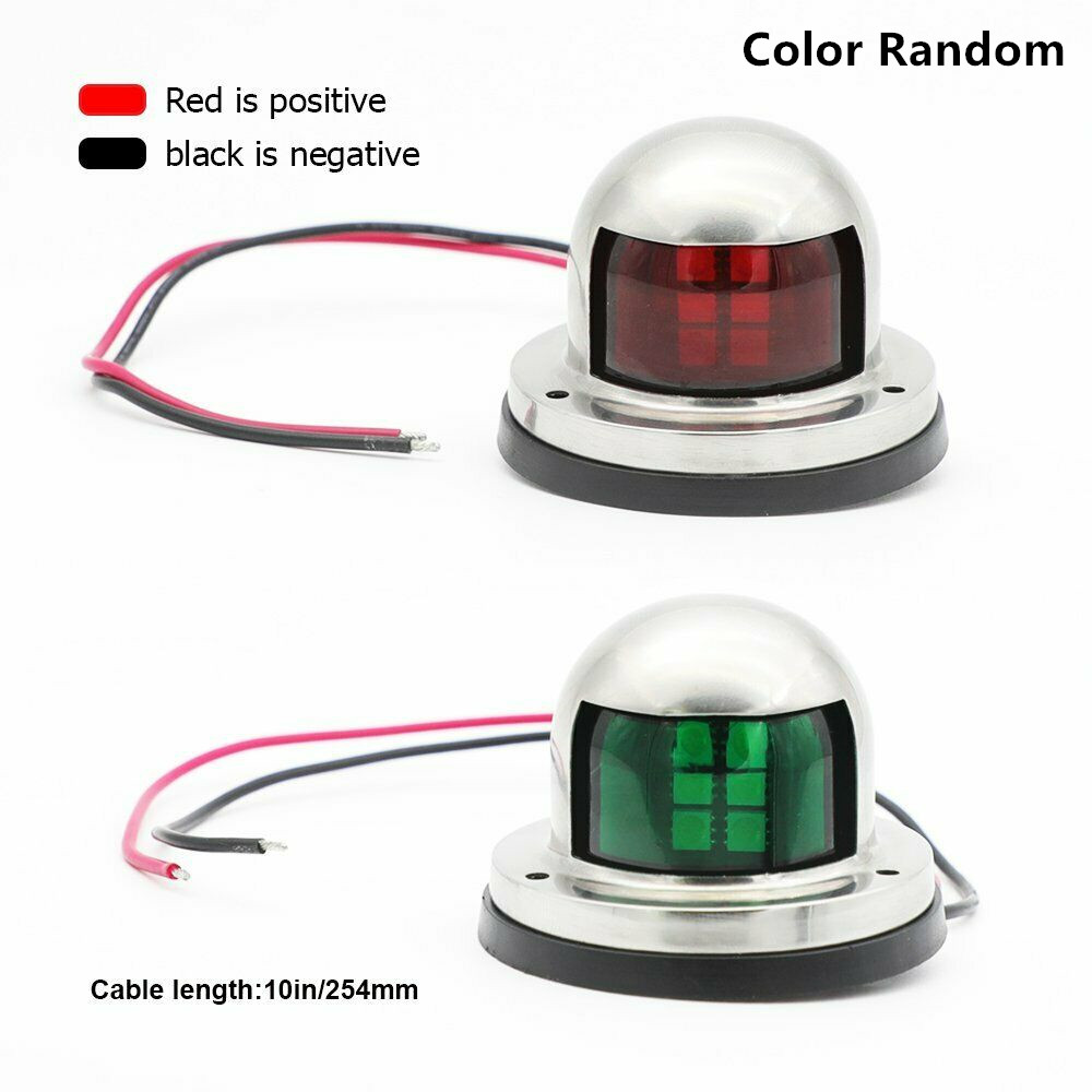 1Pair Marine Bow Light 12V Stainless Steel LED Navigation Side Lights Boat Yacht