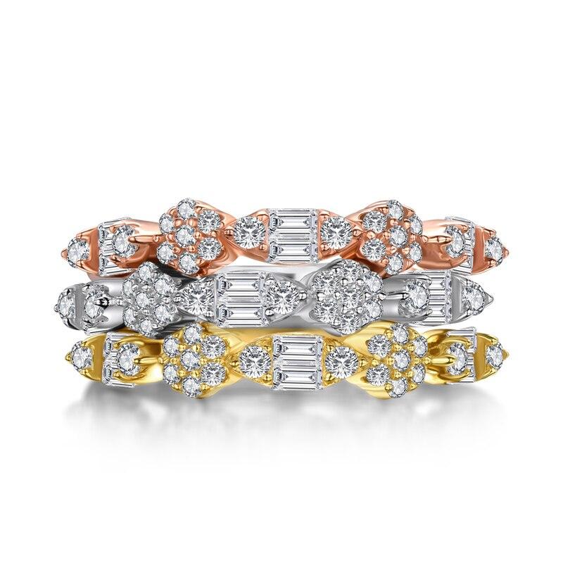 AINUOSHI mode 925 argent Sterling demi éternité bague de fiançailles ensembles simulé diamant mariage argent 3 pièces anneaux bijoux - 3